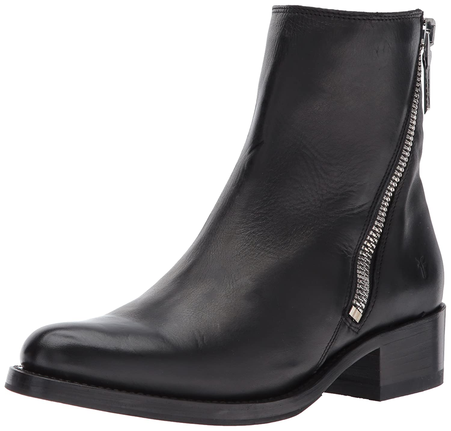 FRYE Women's Demi Zip Bootie Boot B01N0XA5NJ 10 B(M) US|Black Polished Soft Full Grain