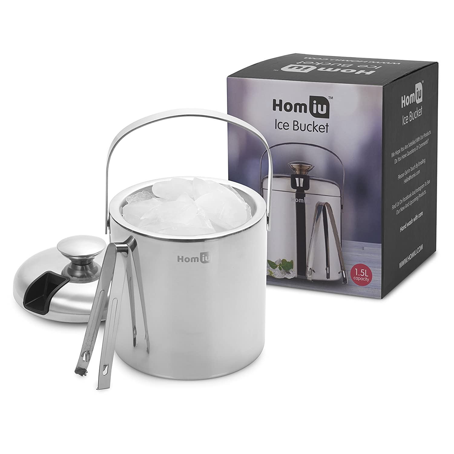 Homiu Ice Bucket with Lid and Tongs Stainless Steel Double Wall 1.5 Or 2 Litre Container Cube Thick Pail with Tweezers 1.5 L