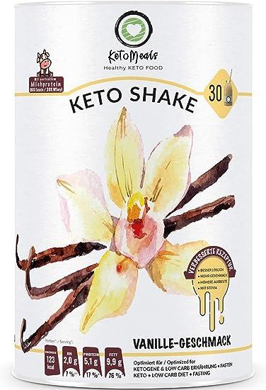 KetoMeals Keto Shake Vainilla (25 porciones) Keto Diät, Low Carb nutrición, Fasten, 450 g