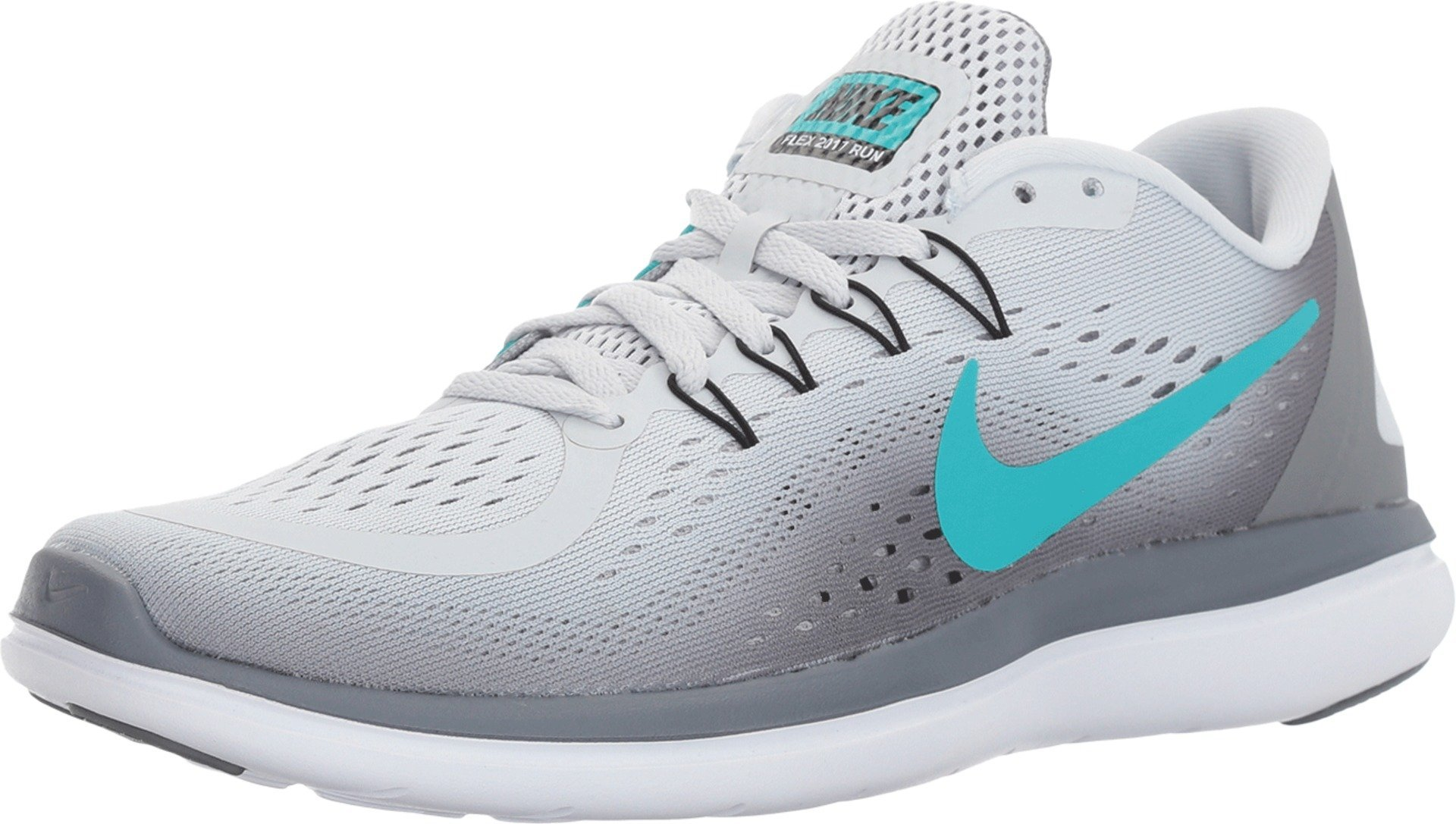 Nike Womens Flex 2017 Running Shoes Pure Platinum/Clear Jade-Grey Black 9