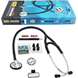 "Vorfreude Cardiology Stethoscope Lifetime Replacement Guarantee (27"" Black) Bonus: Name Tag, Classic Pupil Pen Light, Batteries, and Spare Parts; Diaphragm, Eartips. Lightweight Professional Gift Kit"