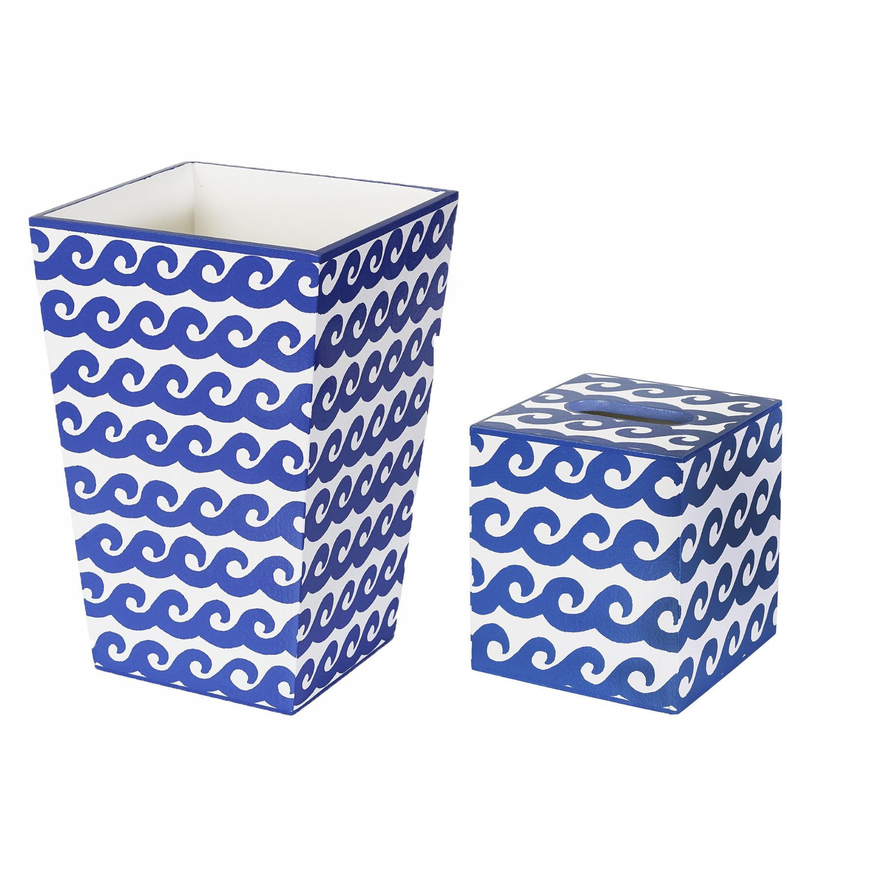 Trash Can Trash Bin Wastebasket & Tissue Box Cover Bathroom Sets Wave Design