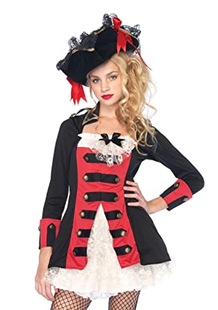 Pretty Pirate Captainwaistcoat dress with lace under skirt BLACK/RED (Small /  sc 1 st  Amazon.com & Amazon.com: Teen Charming Pirate Captain Costume: Clothing