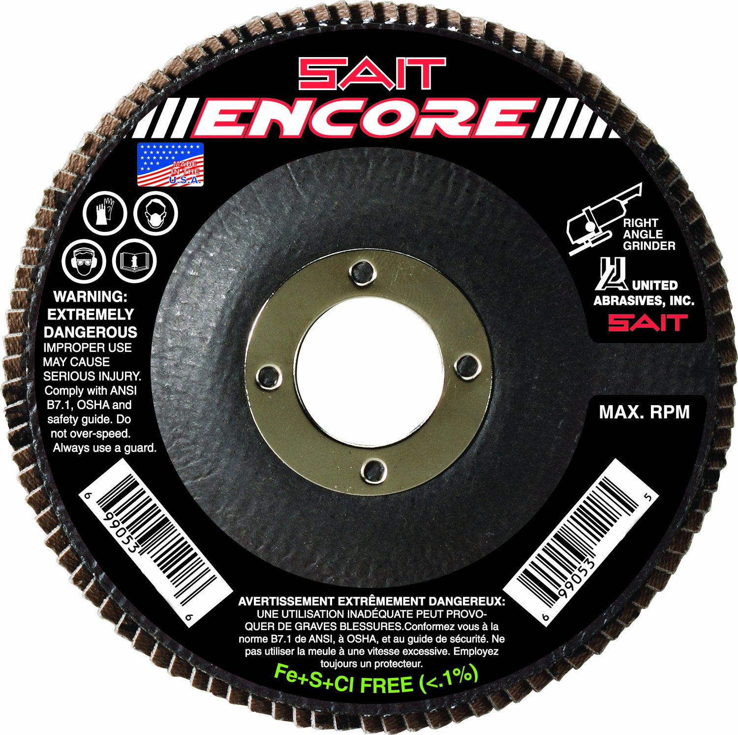 United Abrasives-SAIT 71226 Type 27 Encore Flap Disc, 5-Inch x 7/8-Inch Z 40X, 10-Pack