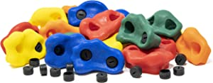 """Squirrel Products Kids Rock Climbing Holds with Safety Rock Plugs to Protect Little Fingers - 20 Pack - Includes Hardware for 1"""" Installation"""