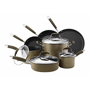 Anolon 82693 Advanced Hard Anodized Nonstick Cookware Pots and Pans Set, 11 Piece, Bronze