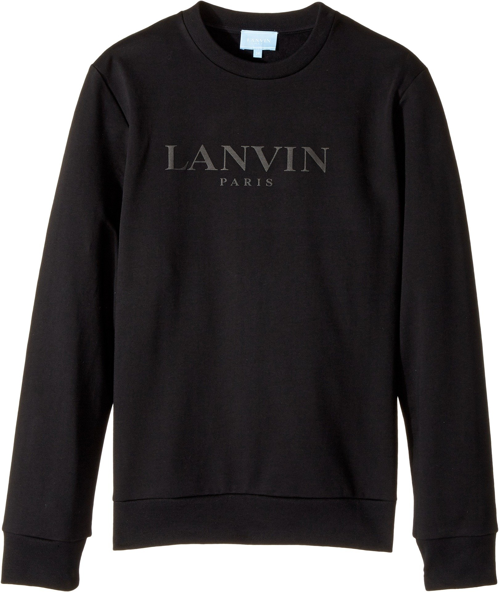 Lanvin Kids Unisex Long Sleeve Logo Sweat Top (Big Kids) Black 10  Years