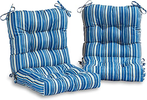 South Pine Porch AM6815S2-SAPPHIRE Sapphire Stripe Outdoor Seat Back Chair Cushion, Set of 2