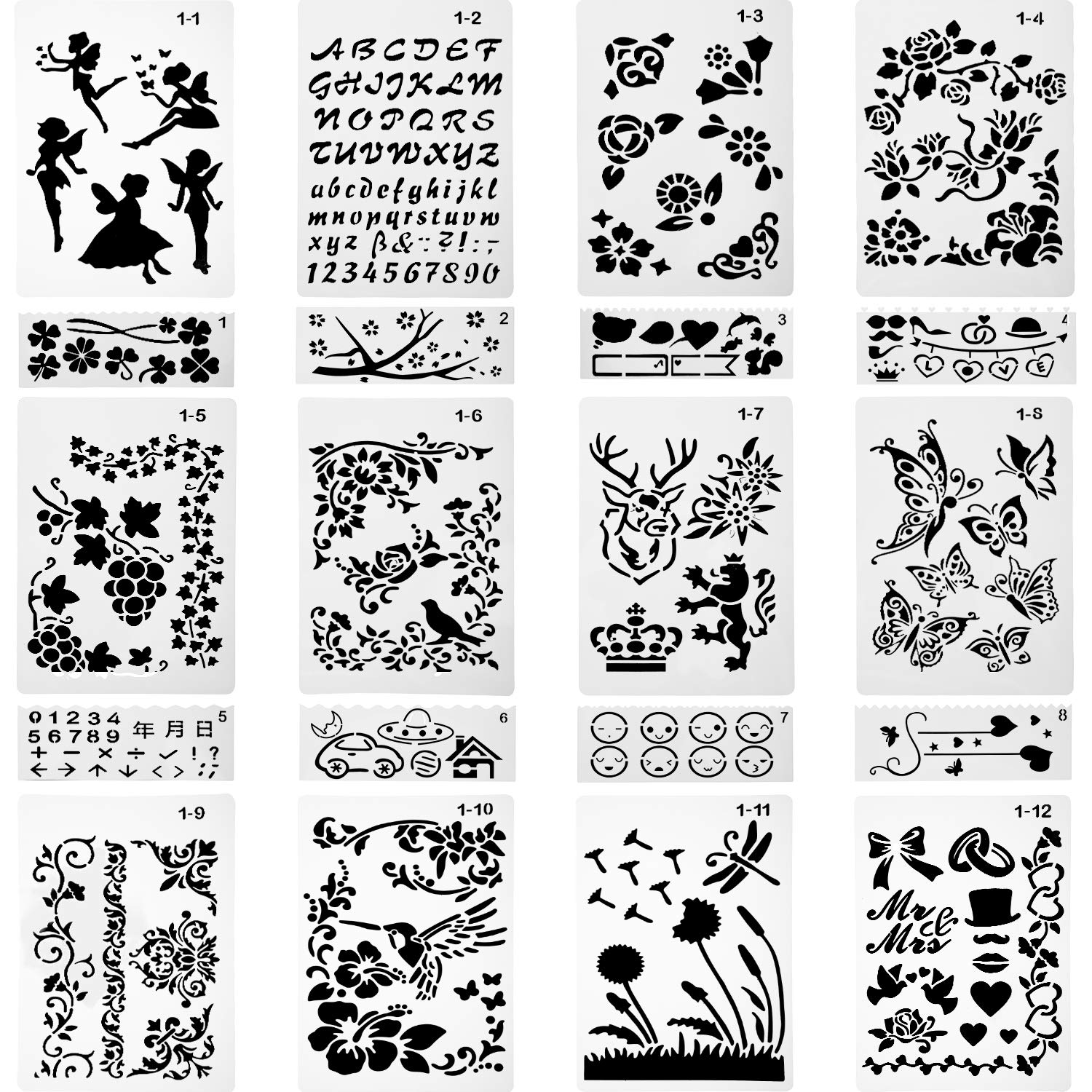 Gejoy 20 Pieces Plastic Painting Stencils, Templates for Drawing, Painting Tools for Kids, Scrapbook, Planner, Bullet Journal, Face, Rock, Wood Painting, Card Making