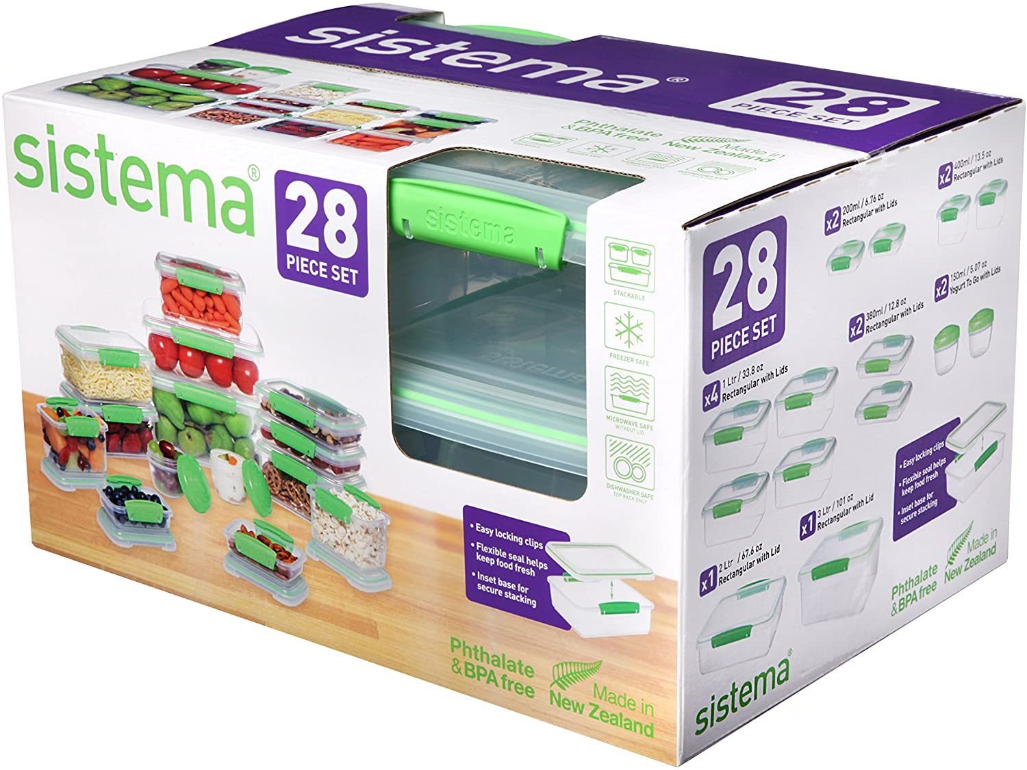 Sistema 65602ZS KLIP IT Accents Collection Food Storage Containers, Clear/Green, 28-Piece Set