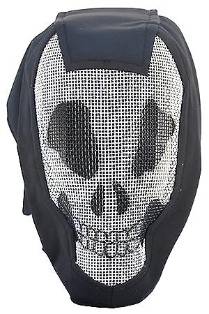 Airsoft esgrima capucha negro elegante máscara, denominadas medidas Máscara de calavera