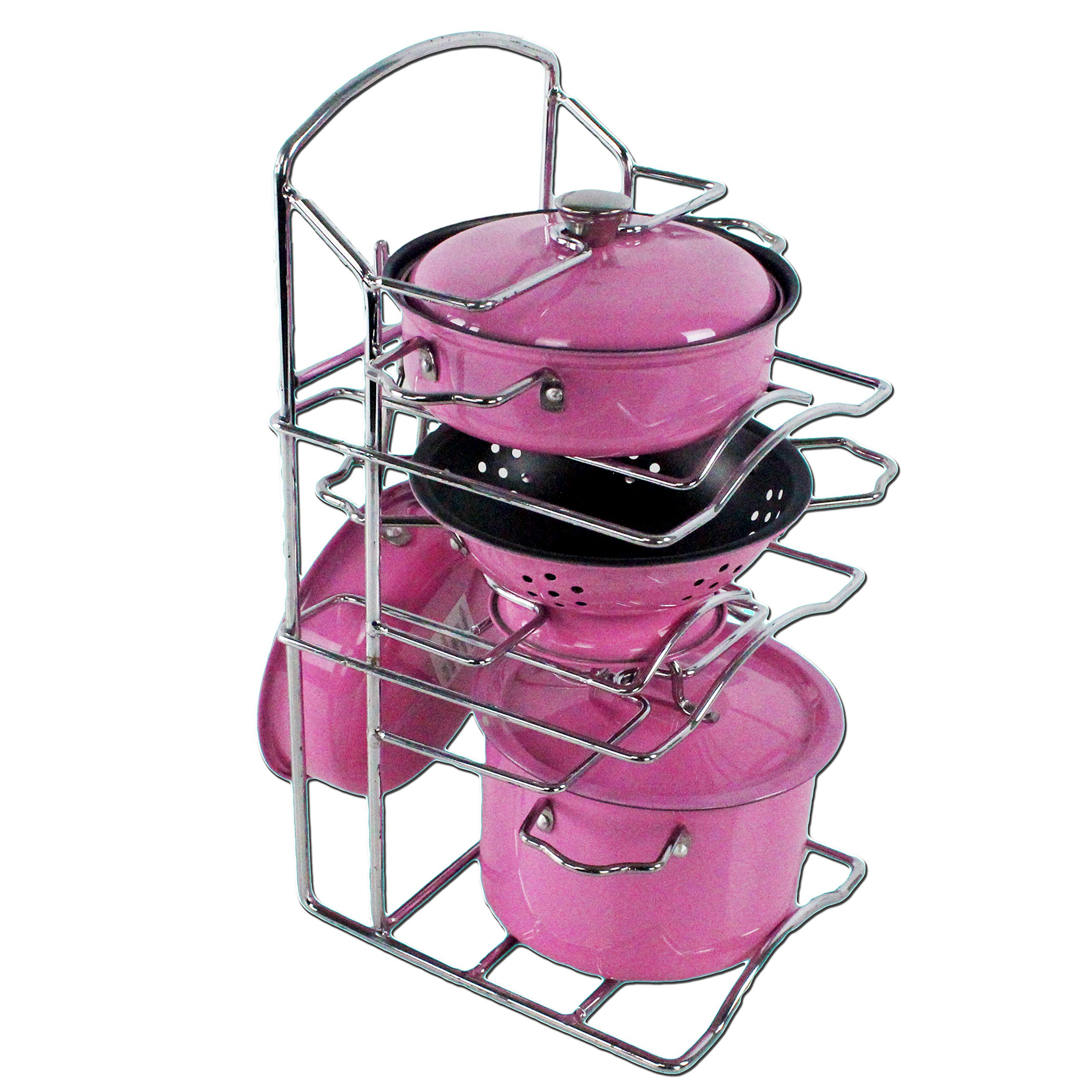 Children's Pretend Cookware Accessories Pretty in Pink Stainless Metal 3 Different Types of Pots & Pans Toys