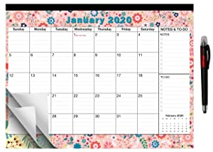 "2020-2021 Large Monthly Desk Pad Calendar Planner Academic, Floral Design with Magnets for Fridge, Desktop January 2020 to June 2021 Wall Calendar 17.3"" x 13.2''"