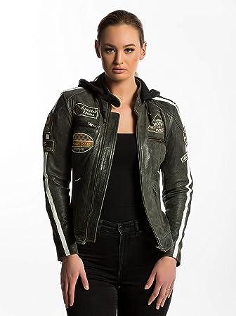 Urban Leather '58 LADIES' Giacca Moto Donna in Pelle con Protezioni Per Schiena, Spalle e Gomiti Omologate CE | Breaker | XL