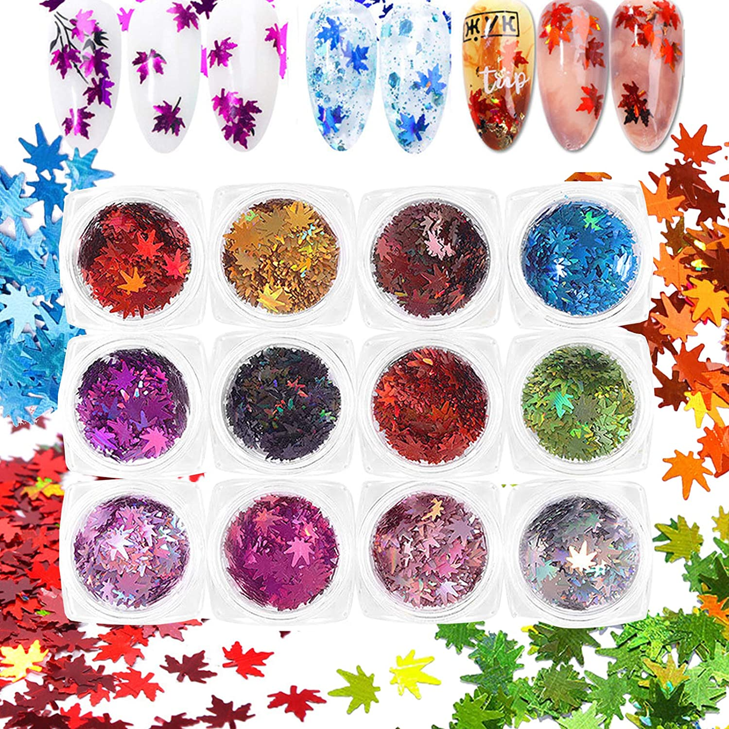 MiaoWu 12 Colors Fall Nail Art Stickers Maple Leaf Glitter Nail Sequins Holographic 3D Laser Flakes Fall Glitter Nail Art Supplies Autumn Maple Leaves Glitter For Nails Autumn Design Decor(12 boxes)