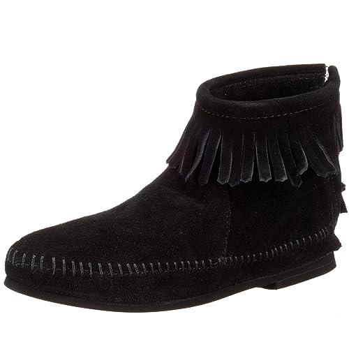 Minnetonka - Botas mocasines para mujer, Negro (Schwarz (Blacksuede)), 41