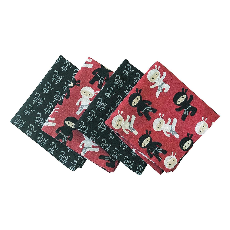 Funkins Reusable Cloth Napkins for Kids | Eco-Friendly | Machine Washable, Durable | Name Tag | Set of 4, 12x12 Soft Cotton Napkins | Ninjas MyFunkins Ltd.
