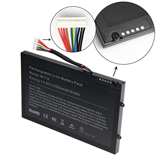 Amazon.com: ARyee M11X R3 M14X R2 Battery for Dell Alienware New Laptop Replacement Fit Alienware M11x R2 R3 M14X R2 P18G P06T 312-0984 8P6X6 999T2086F ...