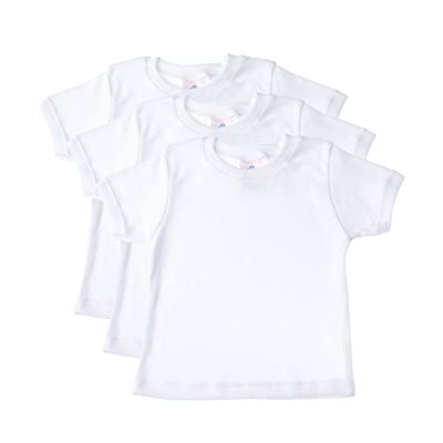 Baby Jay Short Sleeved Undershirt 3 Pack - White Unisex Baby and Toddler Soft Cotton Tee - Boys and Girls T Shirt