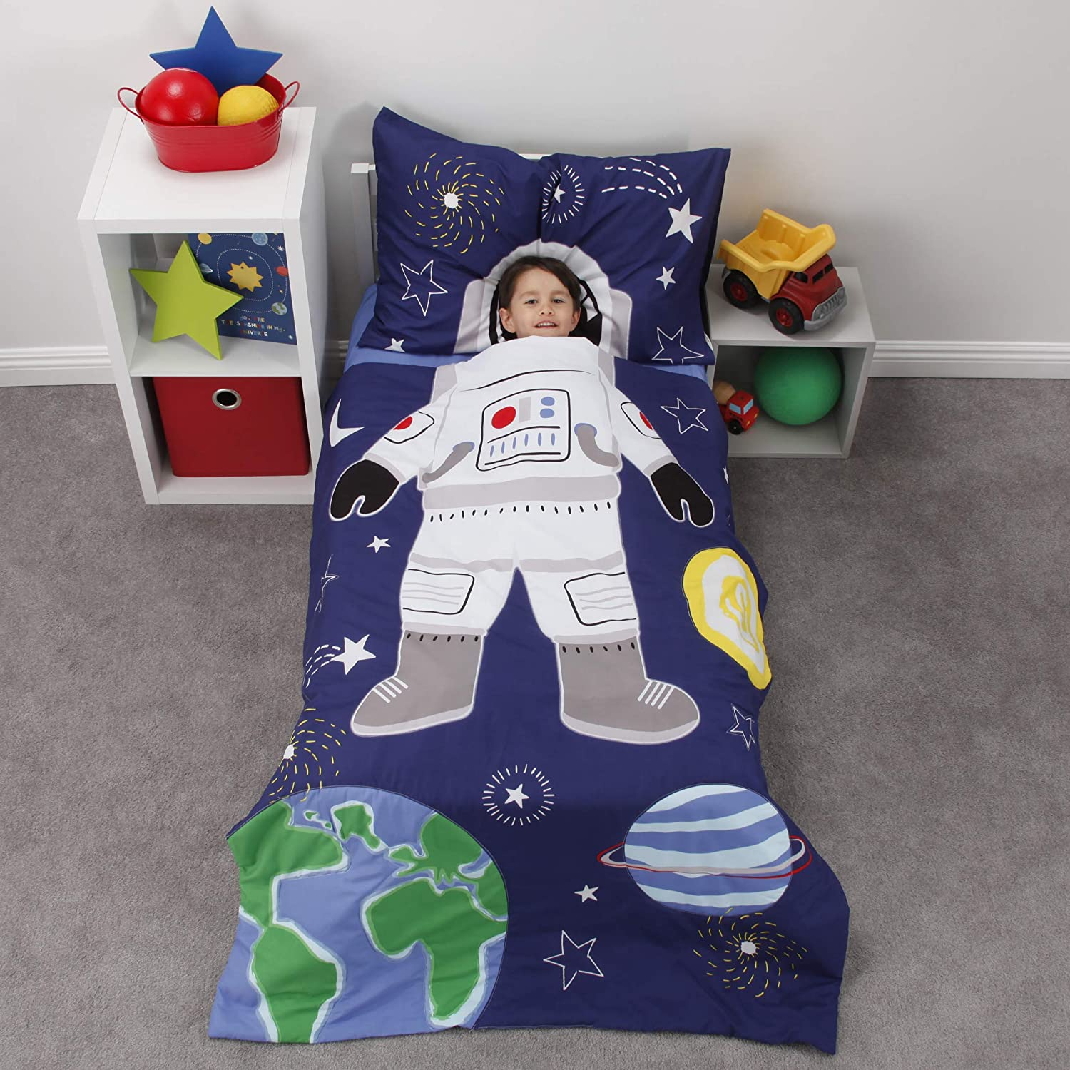 Everything Kids Glow in The Dark 4 Piece Toddler Bed Comforter Set, Space Astronaut, Navy/Green/Yellow/White