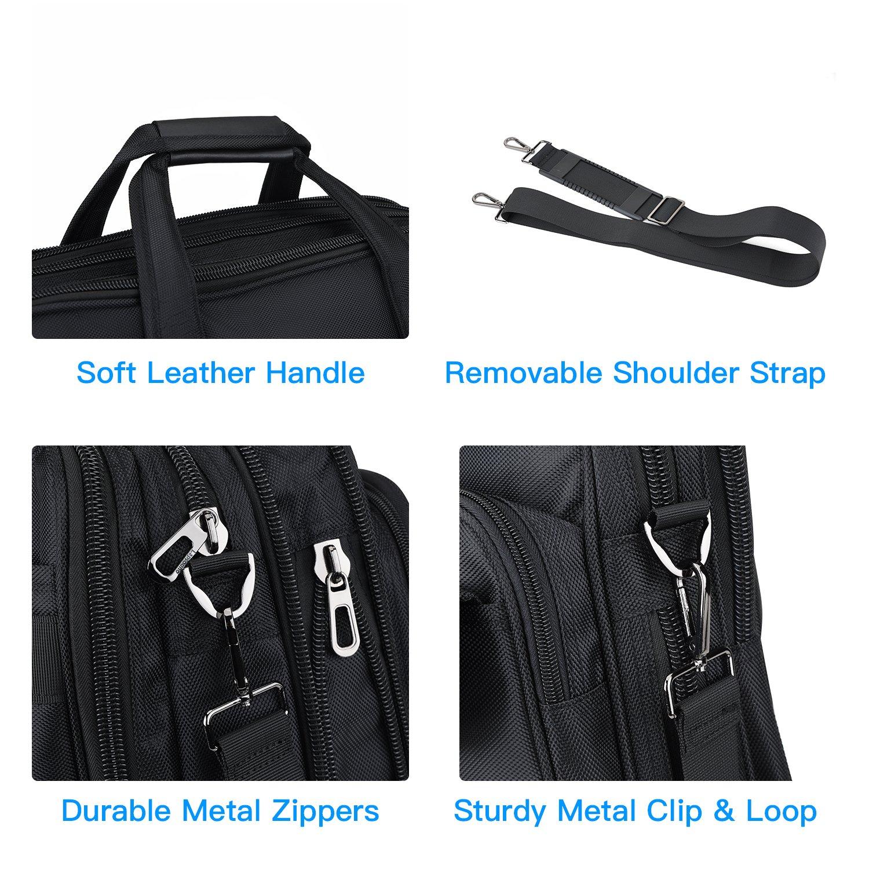 15.6 inch Laptop Briefcase, Expandable Large Shoulder Bag with Adjustable Shoulder Strap for Business Travel College Office Multi-function Shockproof Case Waterproof Messenger Handbag by Welist (Image #4)