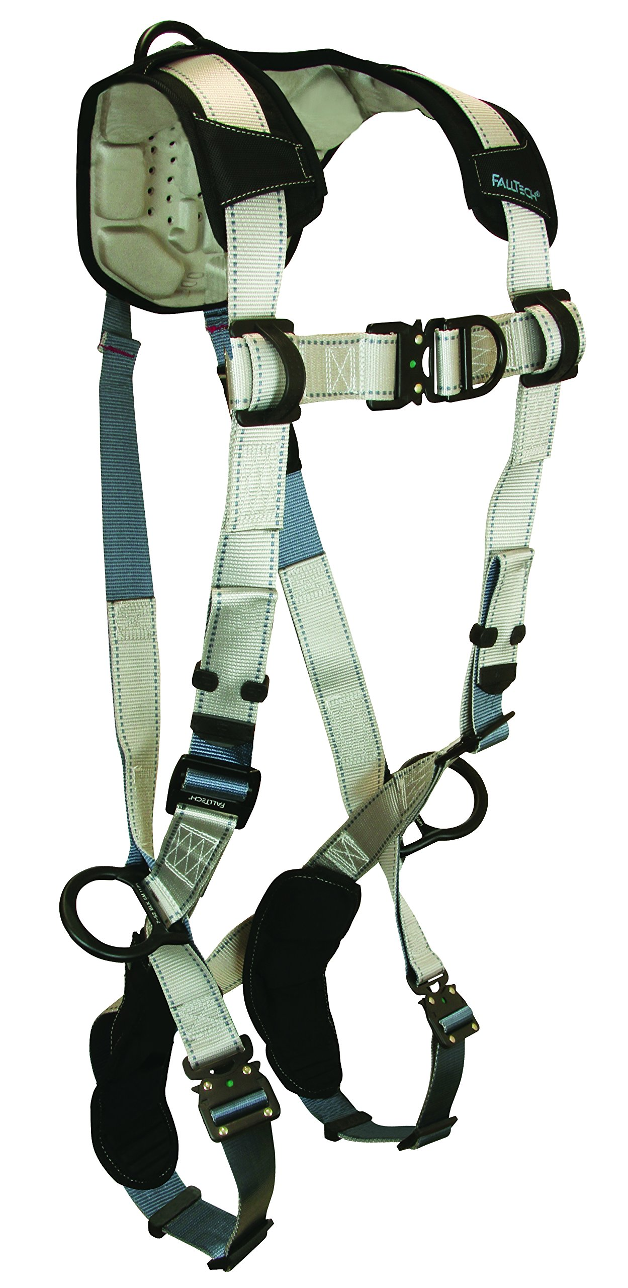 FallTech 7092SFD FlowTech Non-Belted Climbing Full Body Harness with 4 D-Rings, Quick Connect Legs and Chest, FlowScape Shoulder and Leg Pads, Gray/Black, Small