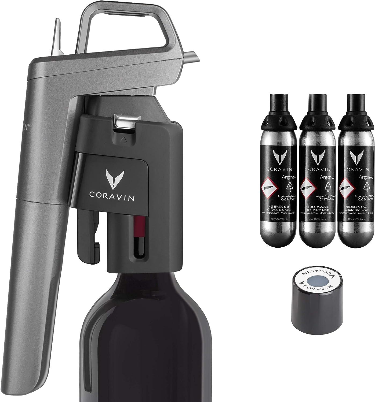 Coravin Model Five Premium - Wine Preservation System, Includes 3 Coravin Pure Capsules and 1 Coravin Screw Cap