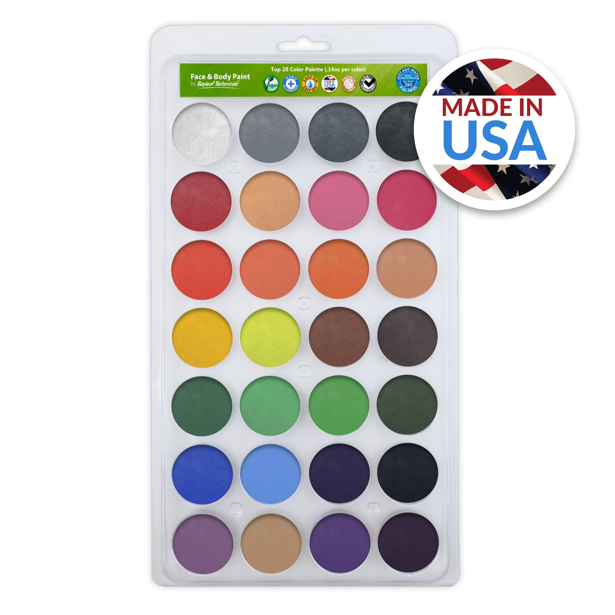 Vegan Face Paint Kit - TOP 28 Color Palette - Face Paints 280 FULL FACES (Volume Painting) - Made in the USA - Hypo-allergenic, Paraben Free! by Bayleaf Botanicals