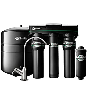 AO Smith 4-Stage Reverse Osmosis Water Filter System Under Sink - NSF Certified - Brushed Nickel Faucet