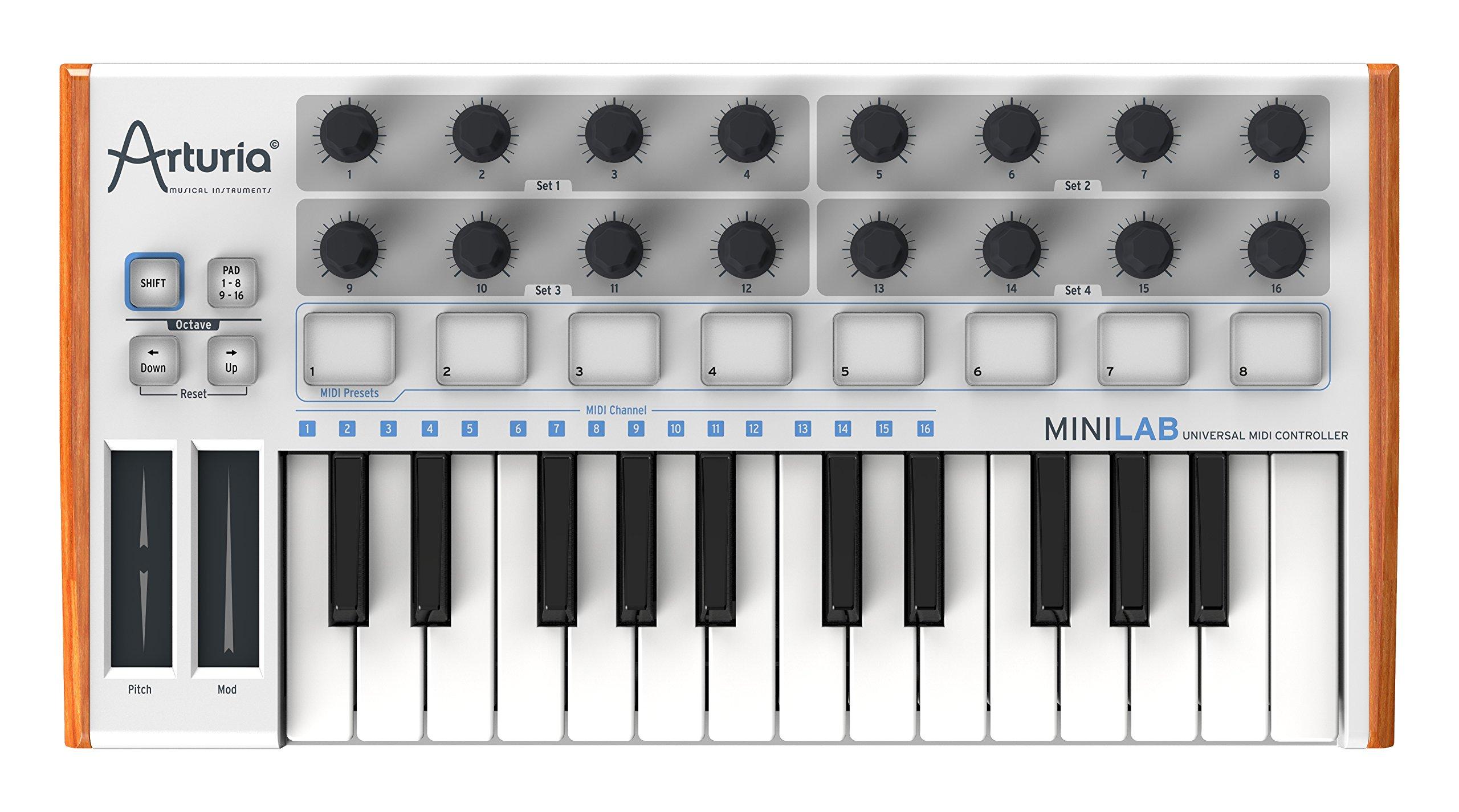 Arturia MiniLab 230401 25-Key Mini USB/MIDI Keyboard Controller with Software