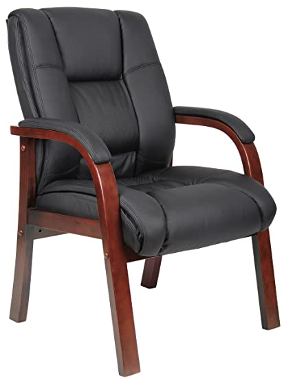 Incroyable Boss Boss Office Products B8999 C Mid Back Wood Finished Guest Chairs