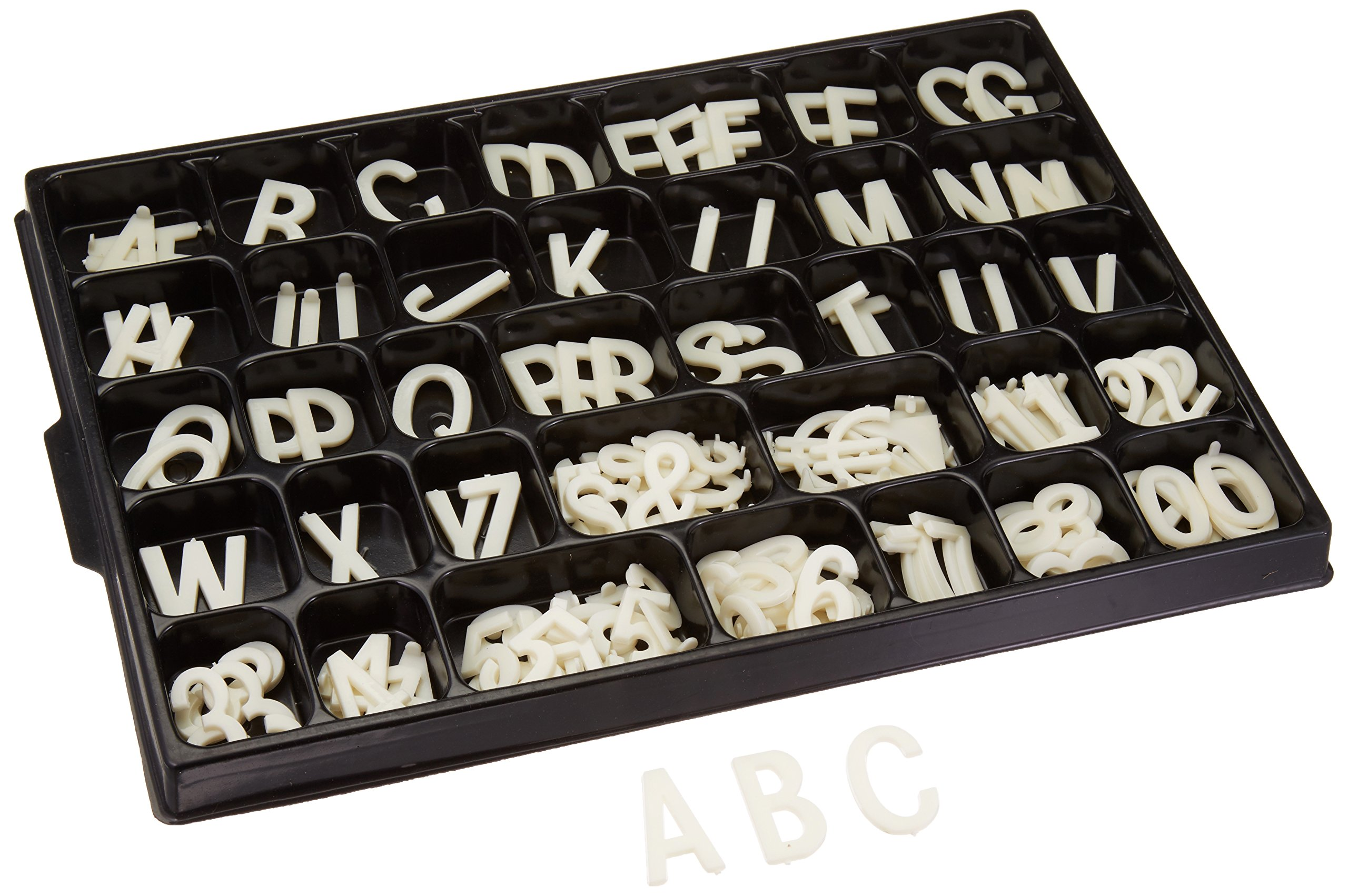 Displays2go White Letter Kit for Grooved Sign Boards, 1.5'' Characters, Helvetica (LS15)