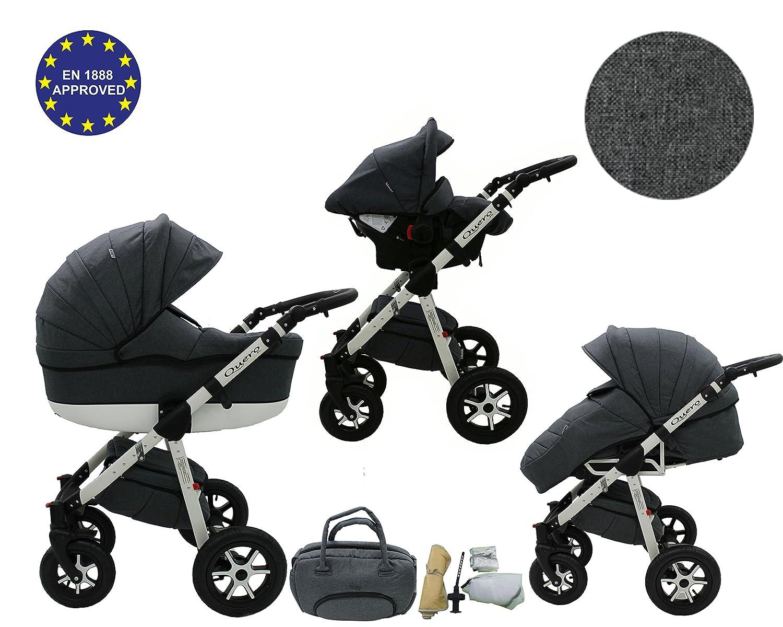 Quero, Edición de lino - Sistema de viaje 3 en 1, silla de paseo, carrito con capazo y silla de coche, RUEDAS GIRATORIAS y accesorios (Sistema de viaje 3 en ...