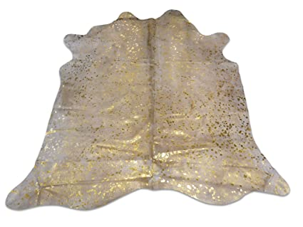 ca7d240d38a6 Amazon.com  Metallic Cowhide Rug Gold on off white background  Home ...