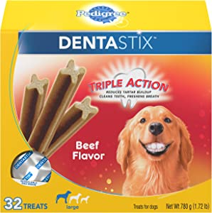 PEDIGREE DENTASTIX Large Dog Dental Treats Beef Flavor Dental Bones, 1.72 lb. Pack (32 Treats)
