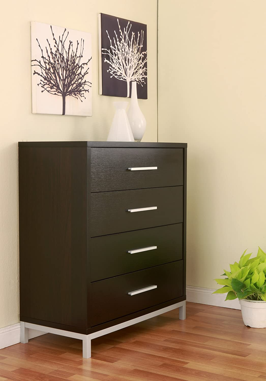 Amazon.com: ioHOMES Beatrice Modern 4-Drawer Chest, Espresso: Kitchen &  Dining