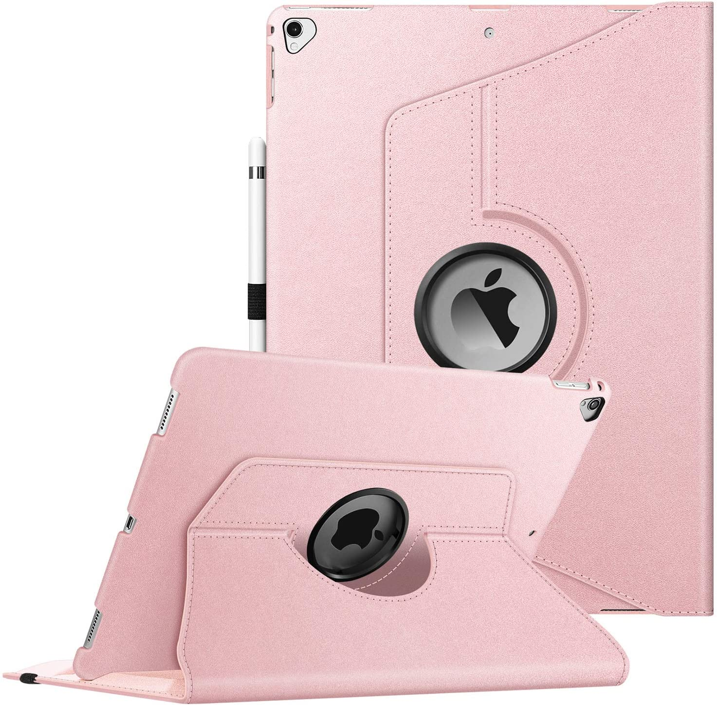 Fintie Rotating Case for iPad Pro 12.9 (2nd Gen) 2017 / iPad Pro 12.9 (1st Gen) 2015 - 360 Degree Rotating Stand Case with Smart Protective Cover Auto Sleep/Wake, Rose Gold