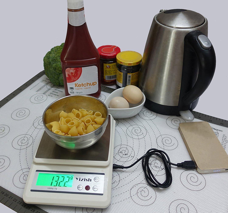 Piattaforma in Acciaio Inox con Display LCD per la Cottura di Cottura Cavo USB batterie di Alimentazione Bilancia di Carne Alimentare Multifunzione Yizish Digitale Bilancia da Cucina 10Kg // 1g