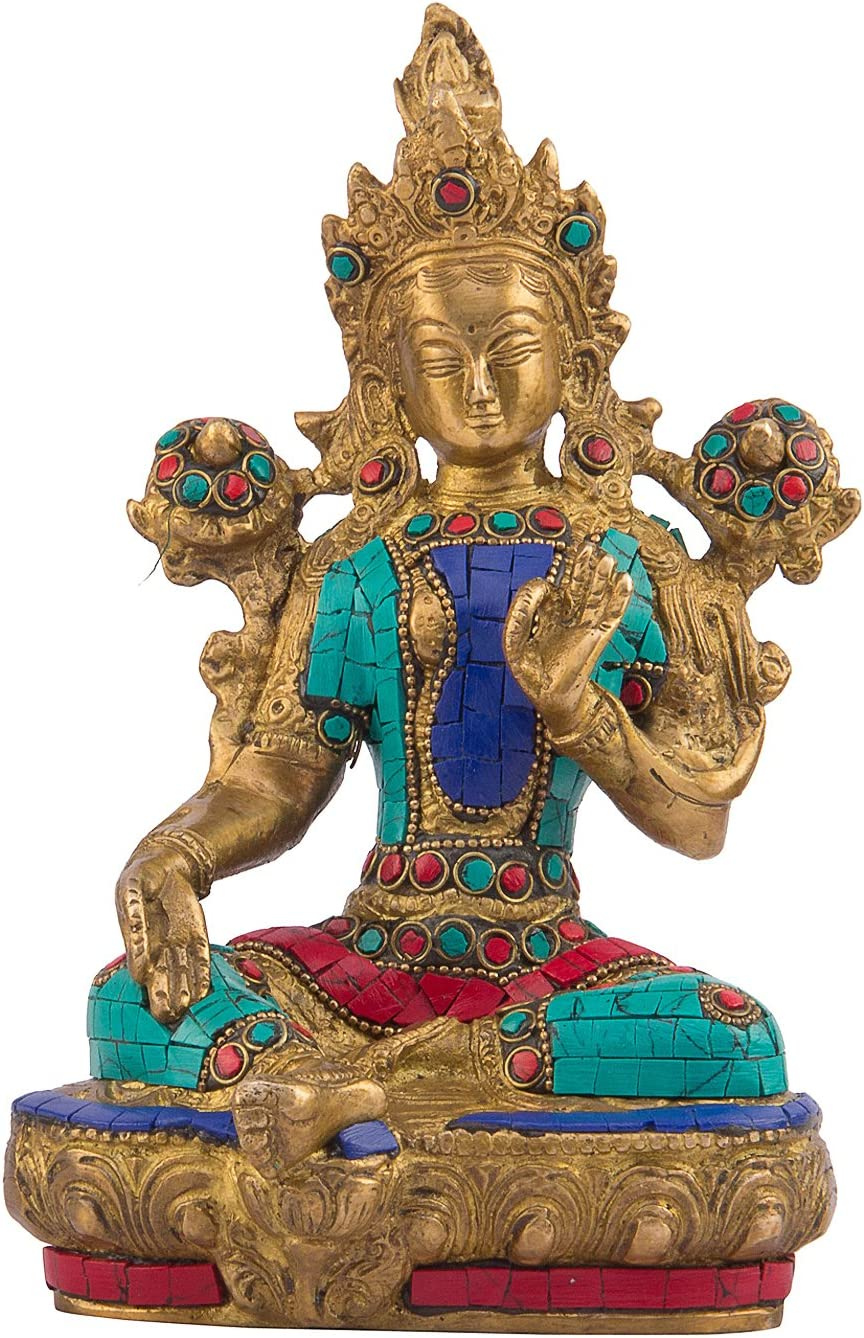 Kartique Tibetan Buddhist Goddess Tara | for Health, Happiness, Wealth at Home and Office | Stone Work on Brass
