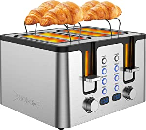 Hosome 4 Slice Toaster,Stainless Steel Bread Bagel Toaster with Warming Rack, 6 Shade Settings, Led Display, Extra Wide Slots, Removable Crumb Tray,Bagel/Defrost/Reheat/Cancel Function, 1500W