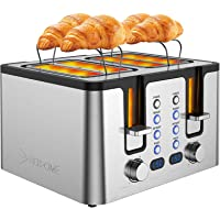 Hosome 4 Slice Toaster,Stainless Steel Bread Bagel Toaster with Warming Rack, 6 Shade Settings, Led Display, Extra Wide…