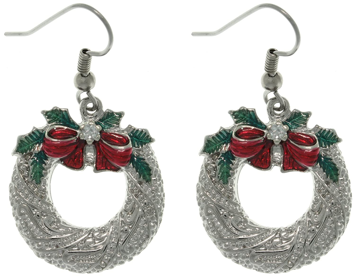 Amazon Com Jewelry Trends Pewter Christmas Holiday Wreath And Bow