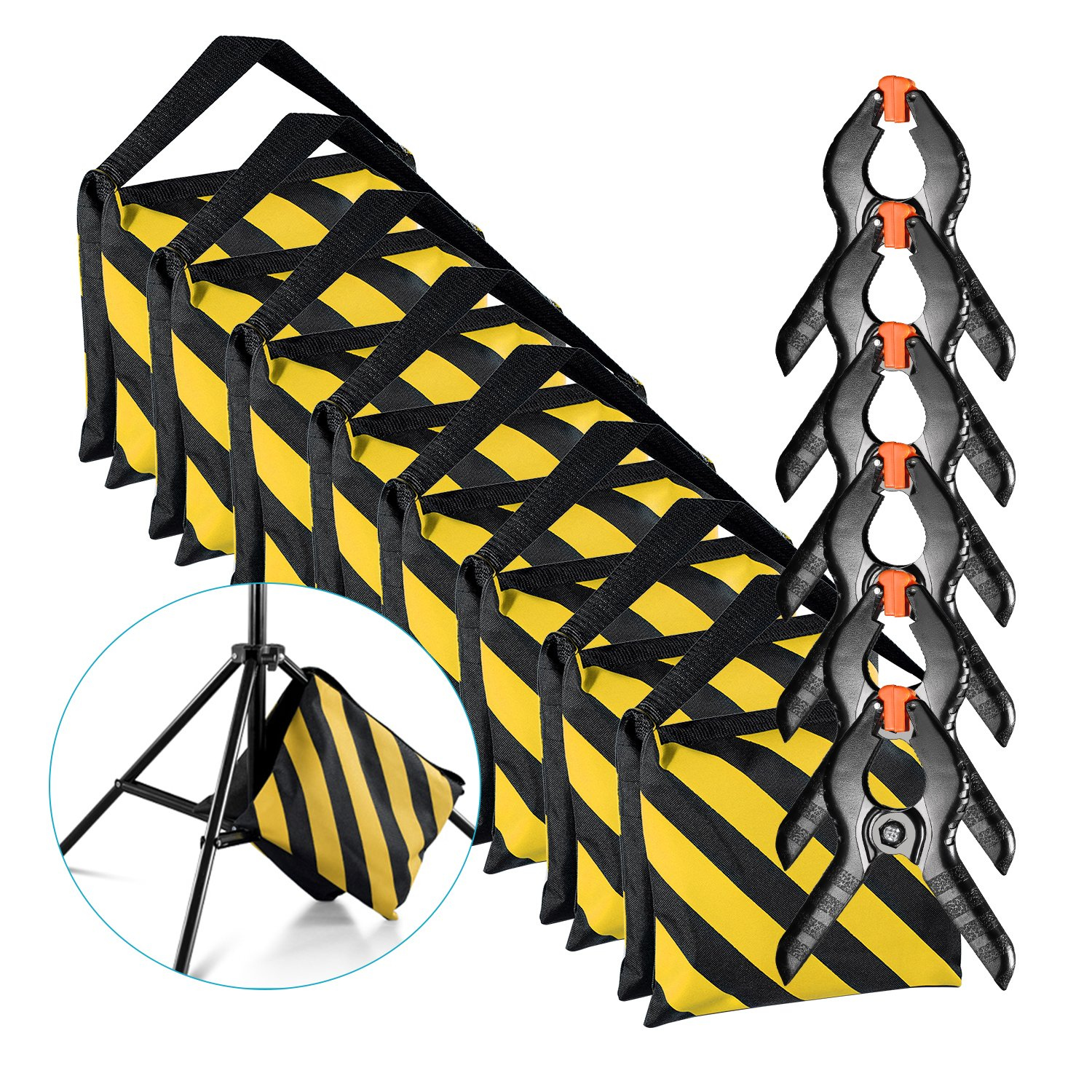 for Photo Studio Light Stands Boom Arms with 6-Pack Muslin Backdrop Spring Clamps Clips Empty Sandbag Neewer 8-Pack Heavy Duty Sandbag Yellow//Black