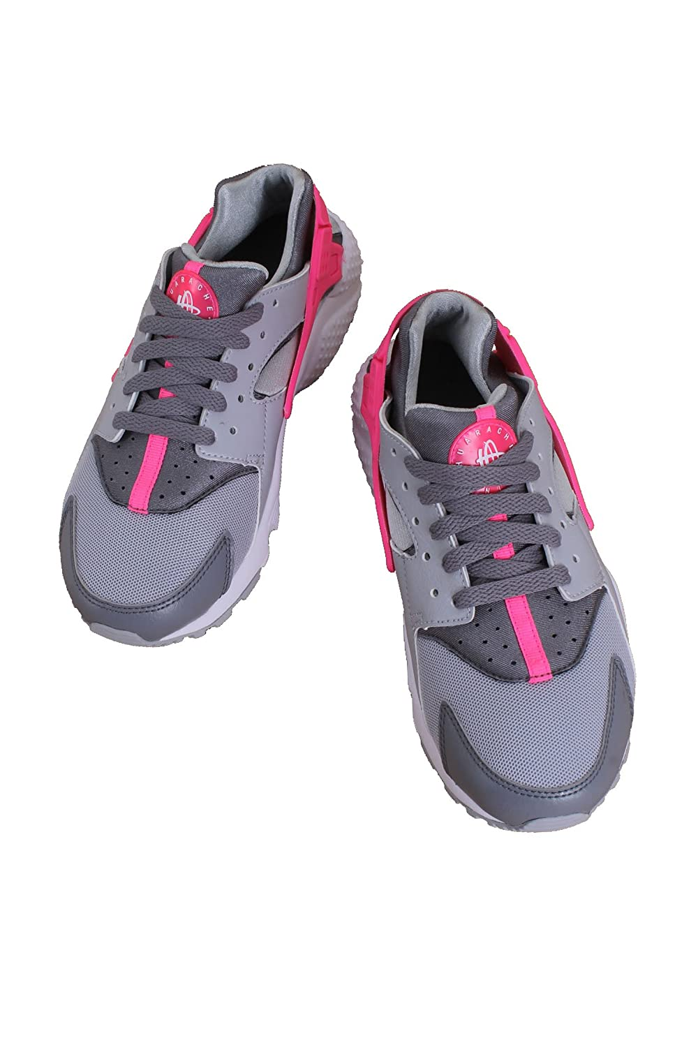 654280-006 KIDS GRADE SCHOOL HUARACHE RUN NIKE WOLF GREY//HYPER PINK GS