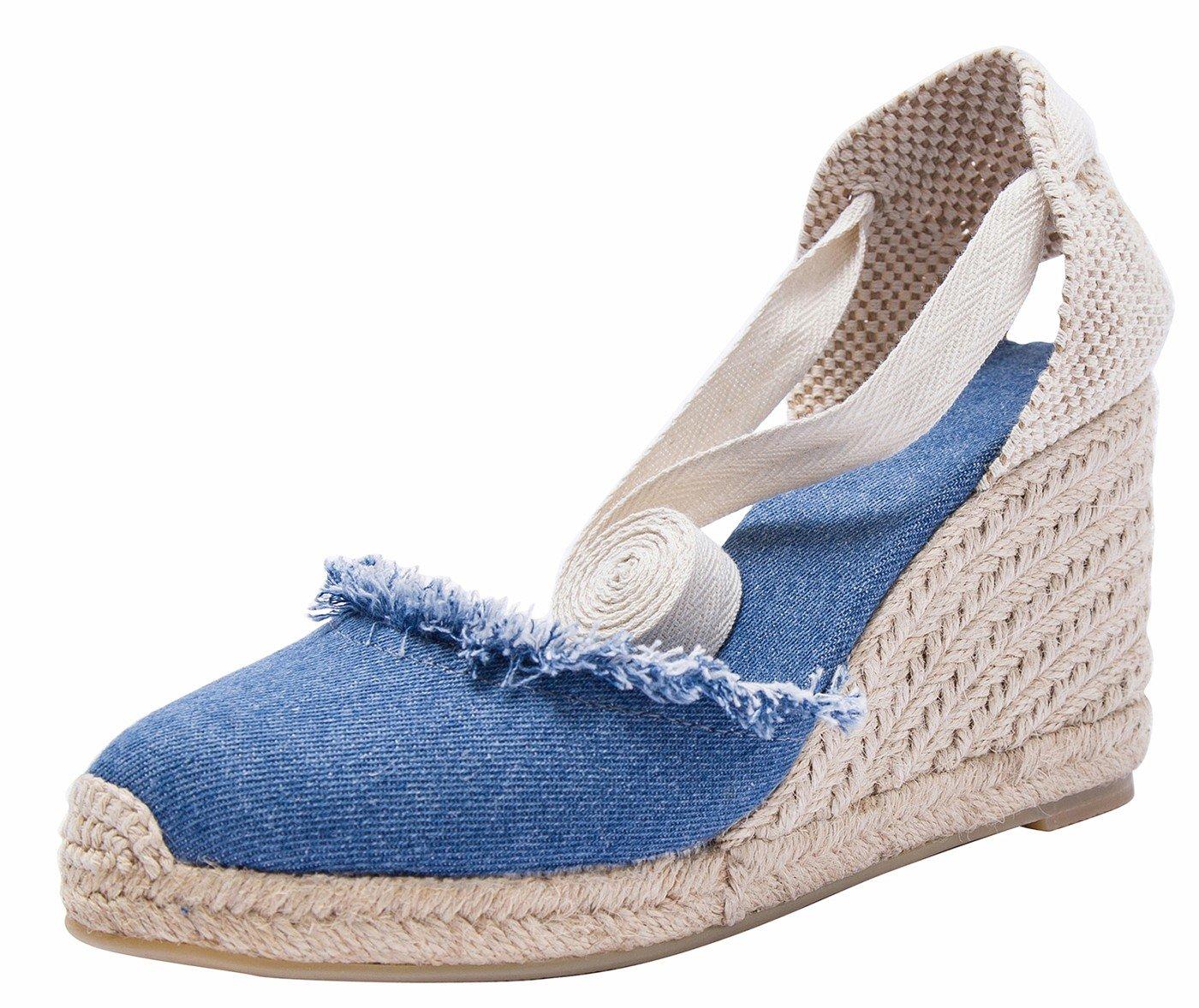 Damen Klassische Denim Keilabsatz-Espadrilles mit Bändern zum Blau(b) Schnüren, Denim Sommerschuhe Sandalen Blau(b) zum d63666