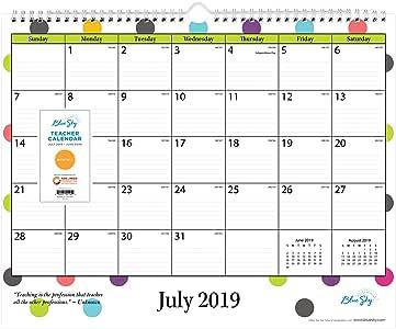 Blue Sky 2020-2021 - Calendario mensual de pared para profesores del año académico: Amazon.es: Oficina y papelería