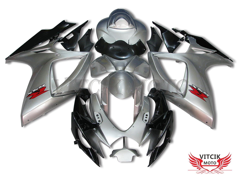 VITCIK (フェアリングキット 対応車種 スズキ Suzuki GSX-R750 GSX-R600 K6 2006 2007 GSXR 600 750 K6 06 07) プラスチックABS射出成型 完全なオートバイ車体 アフターマーケット車体フレーム 外装パーツセット(シルバー & ブラック) A069   B072BGZK7L