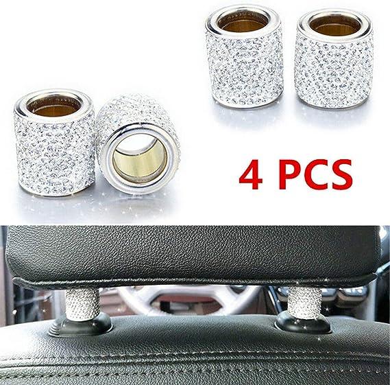 Auto Kopfstützen Halsbänder Auto Kopfstütze Halsbänder Ringe Dekor Bling Bling Kristall Diamant Eis Für Auto Suv Lkw Innendekoration Blings 4 Pack Weiß Auto