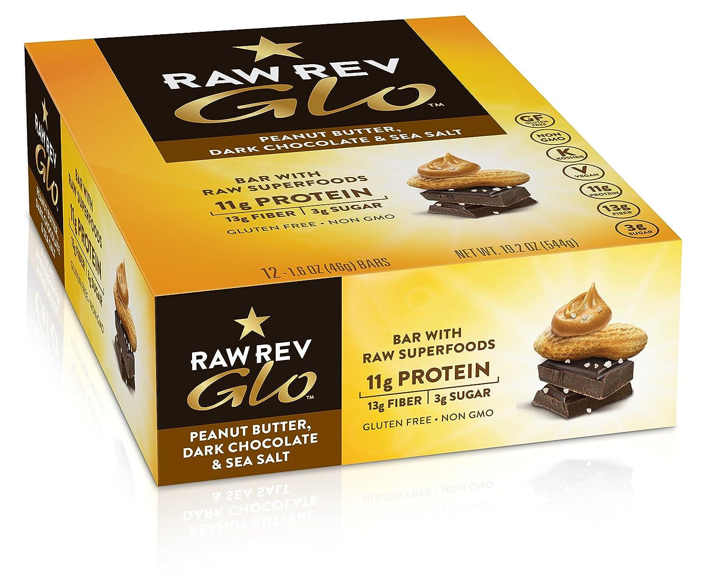 Amazon.com : Raw Rev Glo Vegan, Gluten-Free Protein Bars - Peanut Butter Dark Chocolate & Sea Salt 1.6 ounce (Pack of 12) : Grocery & Gourmet Food