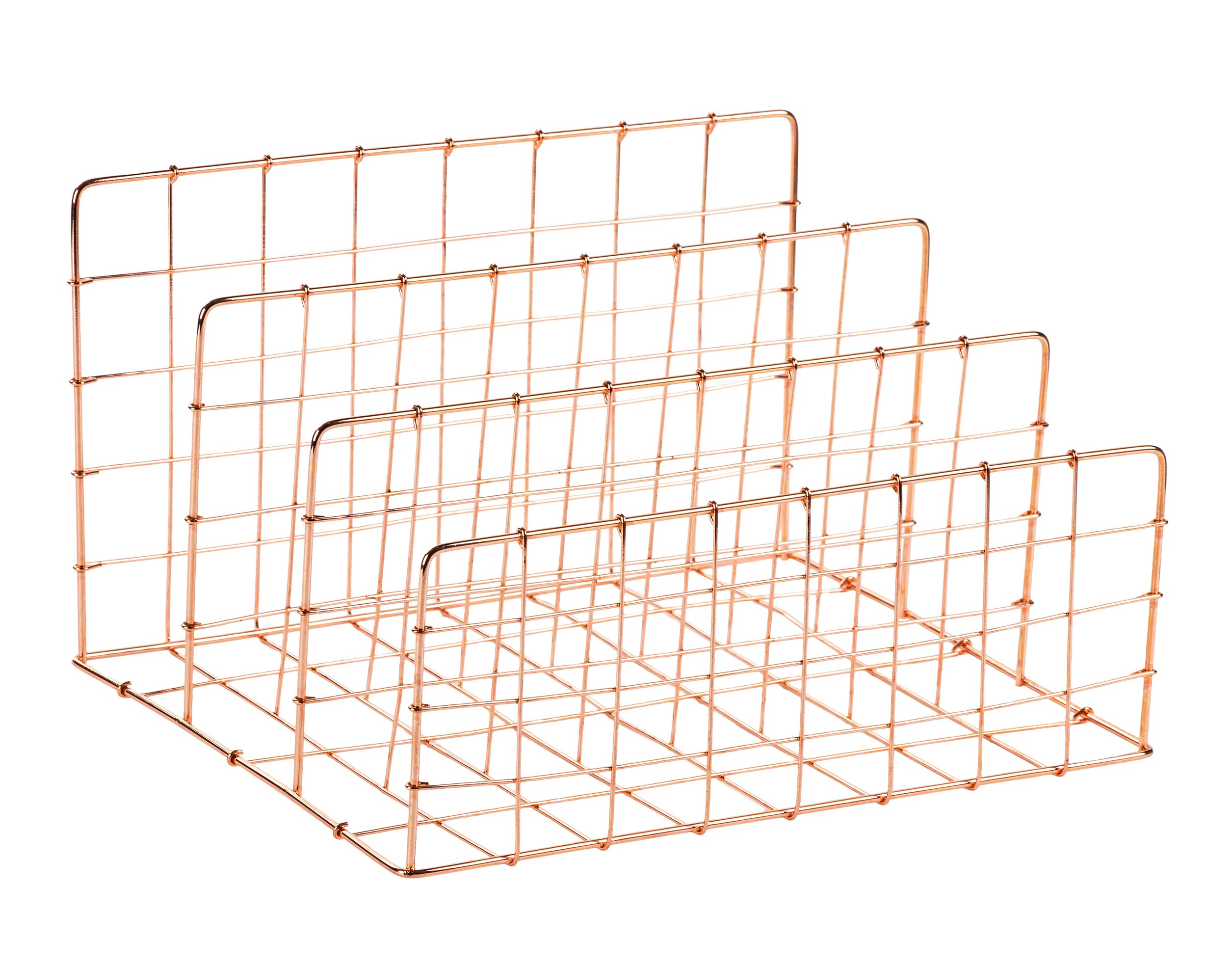 Desktop File Organizer - 3 Vertical Compartments Wire Metal Mesh Organizer, Letter Mail Sorter, Rose Gold, 11.6 x 6.75 x 9.2 Inches